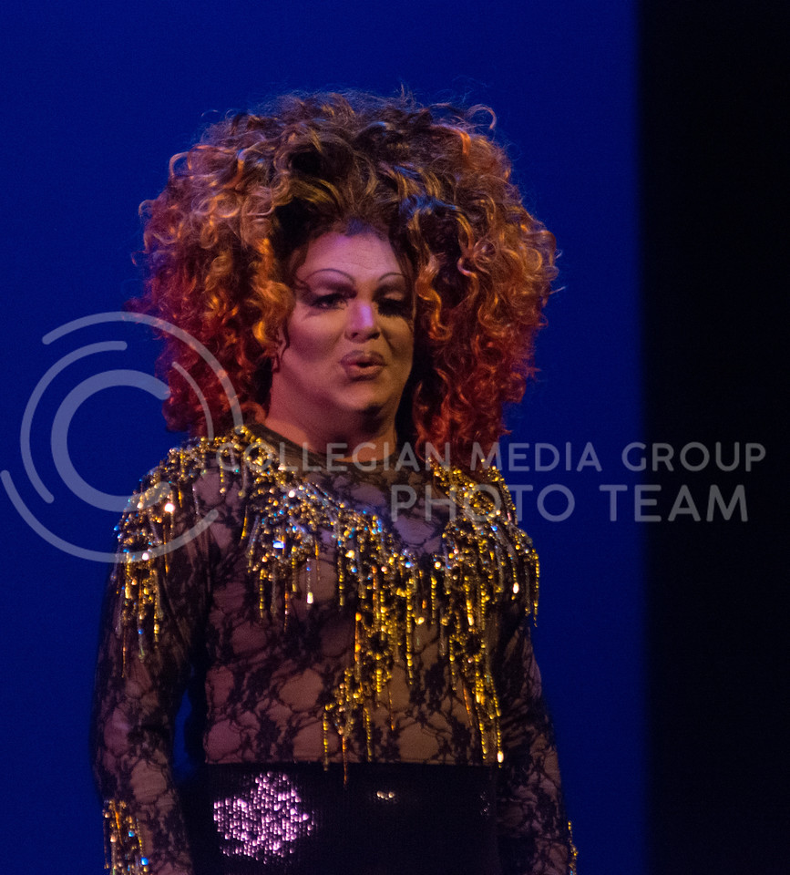 """Monica Moree performs """"What Makes A Man"""" during her last performance of the night at the 11th-annual K-State Drag Show at McCain Auditorium on Feb. 20, 2015. (Cassandra Nguyen 