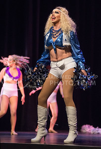 Victoria Fox performs as a Dallas Cowboys cheerleader during the 11th-annual K-State Drag Show on Feb. 20, 2015 in McCain Auditorium. (George Walker | The Collegian)