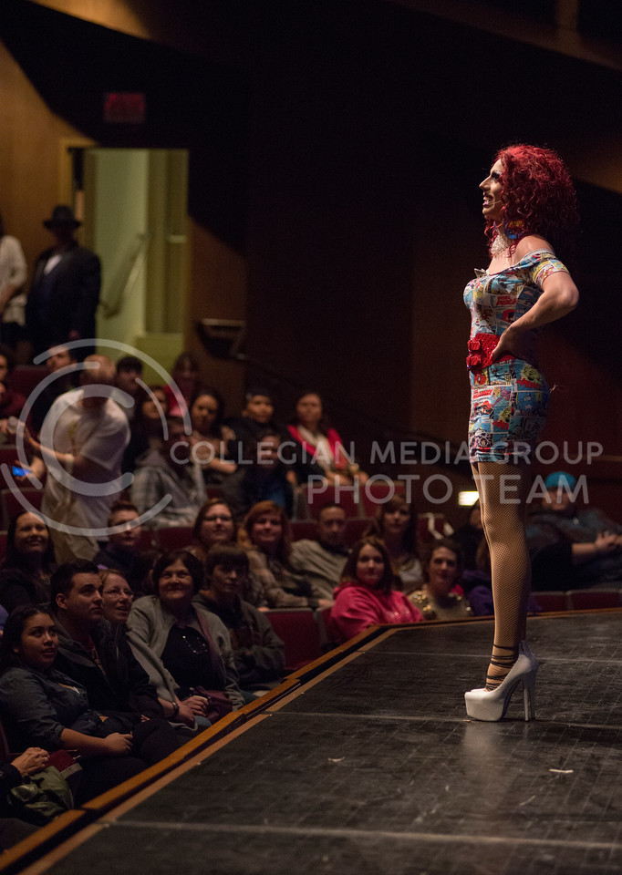 Victoria Fox looks at the crowd before the 11th-annual K-State Drag Show on Feb. 20, 2015 in McCain Auditorium. (George Walker | The Collegian)