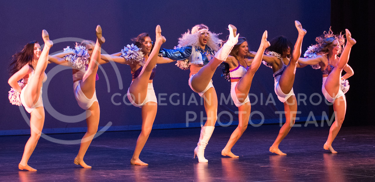 """Victoria Fox performs with dancers """"Cowboy Cheer Mix"""" during her second performance of the night at the 11th-annual K-State Drag Show at McCain Auditorium on Feb. 20, 2015. (Cassandra Nguyen 