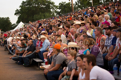 Spectators fill the stands at the Kaw Valley PRCA Rodeo in CiCo Park on July 25, 2015.