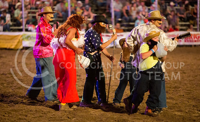 """Rick Young the """"Ragin' Cajun"""" and his band perform between events at the Kaw Valley PRCA Rodeo in CiCo Park on July 23, 2015."""