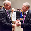 Kansas Senator Pat Roberts, left, chats with former K-State President Jon Wefald following the 167th Landon Lecture, delivered by Secretary of Homeland Security Jeh Johnson, May 27, 2015, in Forum Hall in the K-State Student Union. (Parker Robb | The Collegian)