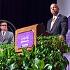Jeh Johnson, U.S. Secretary of Homeland Security, tells how the new TSA Pre-Check system allows the Department to concentrate their resources on the travellers about which they know less while answering questions following his Landon Lecture May 27, 2015, in Forum Hall in the K-State Student Union. (Parker Robb | The Collegian)