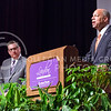 "Jeh Johnson, U.S. Secretary of Homeland Security, answers questions from the audience following his Landon Lecture on the ""new reality"" of global terrorism May 27, 2015, in Forum Hall in the K-State Student Union. (Parker Robb 