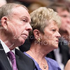 Former K-State President Jon Wefald and his wife Ruth Ann listen to Johnson's Landon Lecture May 27, 2015, in Forum Hall in the K-State Student Union. (Parker Robb | The Collegian)