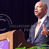 Jeh Johnson, U.S. Secretary of Homeland Security, explains how national security must exist in a balance between personal freedom and national safety while answering questions following his Landon Lecture May 27, 2015, in Forum Hall in the K-State Student Union. (Parker Robb | The Collegian)