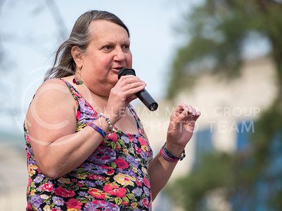 Stephanie Mott speaks during the 6th Annual Little Apple Pride parade and celebration in Triangle Park on April 11, 2015 (George Walker | The Collegian)