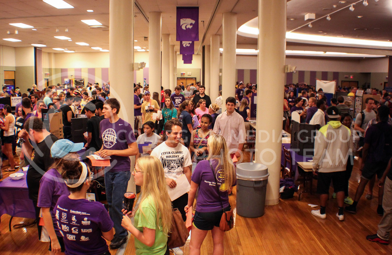 Photo by Mauricio Caldera | The Collegian<br /> <br /> Representatives of K-State clubs and organizations talk to students at the Union Ballroom on August 28th. Altogether there were over 400 K-State clubs and organizations in all three floors of the Union.