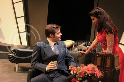 Drew George, senior in Applied Music, and Gabrielle Brown, sophomore in Theatre, in K-State Theatre's production of By the Way, Meet Vera Stark (Nicholas Cady | The Collegian)