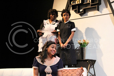 Nicole Casonhua, Junior in Theatre, Angelica McKinnis, Senior in Theatre, and Daijah Porchia, Sophomore in Theatre in K-State Theatre's production of By the Way, Meet Vera Stark (Nicholas Cady | The Collegian)