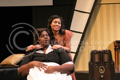 Angelica McKinnis, senior in Theatre, and Nicole Casonua, junior in Theatre in K-State Theatre's production of By The Way, Meet Vera Stark (Nicholas Cady | The Collegian)