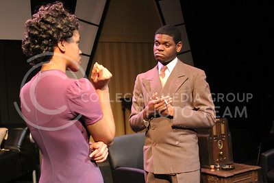 Darrington Clark, Junior in Mass Communications, and Daijah Porchia, Sophomore in Theatre, showed in K-State Theatre's production of By the Way, Meet Vera Stark (Nicholas Cady | The Collegian)