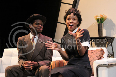 Darrington Clark, Junior in Mass Communications, and Daijah Porchia, Sophomore in Theatre, showed dazzling chemistry as the leads in K-State Theatre's production of By the Way, Meet Vera Stark (Nicholas Cady | The Collegian)