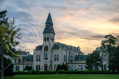 The sun sets behind Anderson Hall on April 14, 2015. (George Walker | The Collegian)