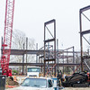 The skeletal support structure rises above the site of the in-progress College of Business Administration building April 8, 2015. (Parker Robb | The Collegian)
