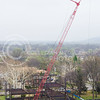 The construction crew puts up steel for the new College of Business Administration building as the skeletal structure of the building starts to take shape April 8, 2015. (Parker Robb | The Collegian)