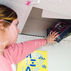 Katie Lingg, freshman in life sciences, pulls out one of the memory shoeboxes hidden in the ceiling of Haymaker 243 April 8, 2015. (Parker Robb   The Collegian)
