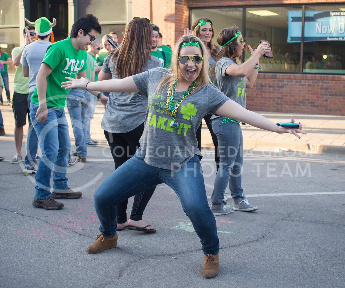 A Fake Patty's Day goer during Fake Patty's Day celebrations in Aggieville on Mar. 7, 2015. (George Walker | The Collegian)