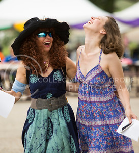 Janai Mestrovich, K-State graduate of Oregon and her niece Aliah Mestrovich of Manhattan share a laugh at the Bayou GatorCraw Fest at Tuttle Creek State Park on July 18, 2015. (Emily Starkey | The Collegian)