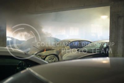 A car in the KSU Parking Garage caught fire on Feb. 26, 2015. (George Walker | The Collegian)
