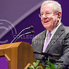 Steve Forbes, Chairman and Editor in Chief of Forbes Media, smiles while telling a little bit of his story while delivering the first Landon Lecture of 2015 Monday evening in McCain Auditorium at Kansas State University. (Parker Robb)
