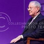 Steve Forbes sits onstage as he is introduced by Kansas State Univeristy President Kirk Schulz prior to delivering the first Landon Lecture of 2015 Monday evening in McCain Auditorium at Kan ...