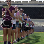 (Photo by Taylor Alderman | The Collegian)  Clarinet players in the band stand in formation during band practice on Tuesday afternoon, Sept. 9, 2014 at Memorial Stadium in 95 degree heat.