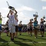 (Photo by Taylor Alderman | The Collegian)  Members of the band stand in place during band practice on Tuesday afternoon, Sept. 9, 2014 at Memorial Stadium in 95 degree heat.