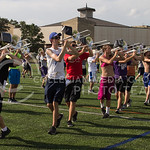 (Photo by Taylor Alderman | The Collegian)  Trombone players march to their formation at band practice on Tuesday afternoon, Sept. 9, 2014 at Memorial Stadium.