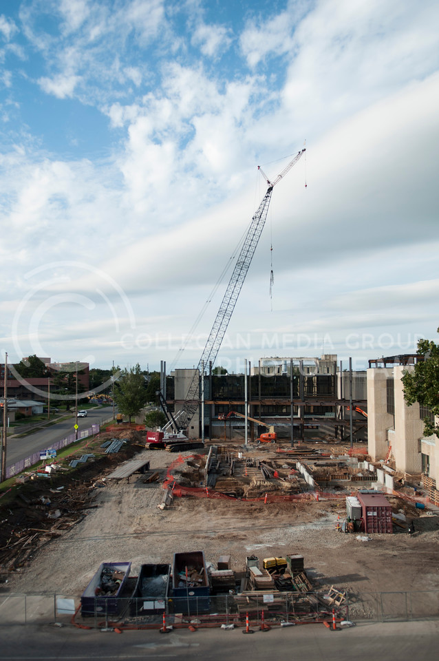 Phase IV of the College of Engineering expansion continues across from Ahern Fieldhouse at the corner of College Heights and Denison.  The renovation is expected to cost a total of $40 million and add 107,00 square feet to the existing complex. (Hannah Hunsinger | The Collegian)