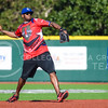 Parker Robb | The Collegian<br /> <br /> Former KC Chief Reshard Langford looks to throw to second base during the Wounded Warrior Amputee Softball Team's game against the Fort Riley celebrity team, which included K-State football, KC Chiefs and KC Royals all-stars, Saturday evening at Tointon Family Stadium.