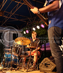 Dominic Puccio, 20, of Pheonix, Arizona, drummer for The Vik G Trio, performs at the OPUS band competition on Friday evening, Sept. 26, 2014. (Vail Moshiri | The Collegian)