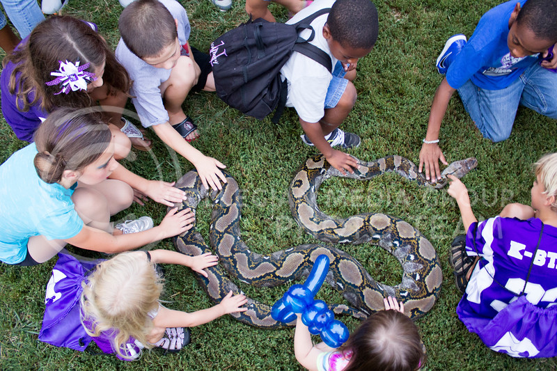 (Photo by Alexander Shaw   The Collegian)<br /> <br /> Curious children gather around a snake at Purple Power Play in the Park Aug. 28, 2014.