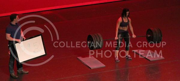Rebekah Shirley represents Kappa Kappa Gamma this Thursday evening at the Delta Upsilon Miss K-State 2015 and deadlifts 295 pounds. (Vail Moshiri | The Collegian)
