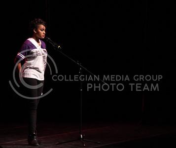 Miranda Watson represents United Black Voices Thursday evening at the Delta Upsilon Miss K-State 2015. (Vail Moshiri | The Collegian)