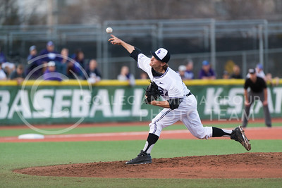 Sophomore pitcher Nate Griep throws against Missouri State players on March 13 during first game of the three game series. The Wildcats won 4-0 on the opening game at Tointon Family Stadium. (Evert Nelson | The Collegian)