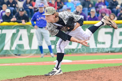 Right-handed pitcher Nate Griep throws a pitch during the baseball team's 1-2 loss to Kansas April 6, 2014, at Tointon Family Stadium. (Parker Robb | The Collegian)
