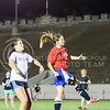 Jacquelyn Ewald, senior in civil engineering, jumps in front of Michelle Bowman, sophomore in athletic training, to take a header off a cross during the Women's Club Soccer team's practice Wednesday evening at Old Stadium. (Parker Robb | The Collegian)