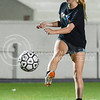 Anna McVicker, freshman in animal sciences and industry, crosses the ball to a teammate during the Women's Club Soccer team's practice Wednesday evening at Old Stadium. (Parker Robb | The Collegian)