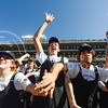 """Members of the K-State Marching Band clap along to """"The Band Is Hot"""" during the fourth quarter of the Wildcats' 23-0 shutout of the Texas Longhorns Oct. 25, 2014, in Bill Snyder Family Stadium. (Parker Robb 
