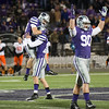 Holder Collin Sexton and kicker Matthew McCrane and Laton Dowling celebrate McCrane's 53 yard field goal on Saturday, November 1, 2014 at Bill Snyder Family Stadium. K-State won 48-14. (Emily DeShazer | The Collegian)