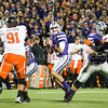 K-State quaretback Jake Waters looks to pass down field on Saturday, November 1, 2014 at Bill Snyder Family Stadium. (Emily DeShazer | The Collegian)