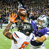 K-State defensive back Morgan Burns defends a pass to Oklahoma State wide receiver Jhajuan Seales on Saturday, November 1, 2014 at Bill Snyder Family Stadium. (Emily DeShazer | The Collegian)