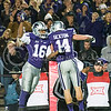 K-State wide receivers Tyler Lockett and Curry Sexton celebrate Sexton's touchdown catch on Saturday, November 1, 2014 at Bill Snyder Family Stadium. (Emily DeShazer | The Collegian)