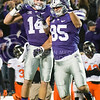 K-State wide receiver Curry Sexton and tight end Zach Trujillo celebrate Sexton's touchdown catch on Saturday, November 1, 2014 at Bill Snyder Family Stadium. (Emily DeShazer | The Collegian)