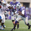 K-State running back Charles Jones takes the ball downfield during the Sunflower Showdown at Bill Snyder Family Stadium on Nov. 29, 2014. (George Walker | The Collegian)