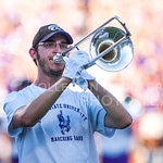 (Photo by Emily DeShazer | The Collegian)  A trombone player performs during the season opener on August 30, 2014 at Bill Snyder Family Stadium.