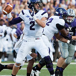(Photo by Emily DeShazer | The Collegian)  Stephen F. Austin quarterback Zach Conque takes aim on August 30, 2014 at Bill Snyder Family Stadium.