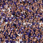 (Photo by Emily DeShazer | The Collegian)  Fans cheer during the Alma Mater on August 30, 2014 at Bill Snyder Family Stadium.